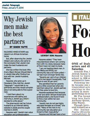 Author Nazaree Hines-Starr in The Jewish Telegraph in the UK